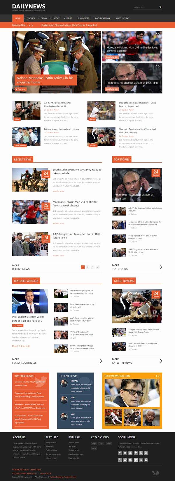 Magazine Template Google Docs Best Of Dailynews News Joomla Template