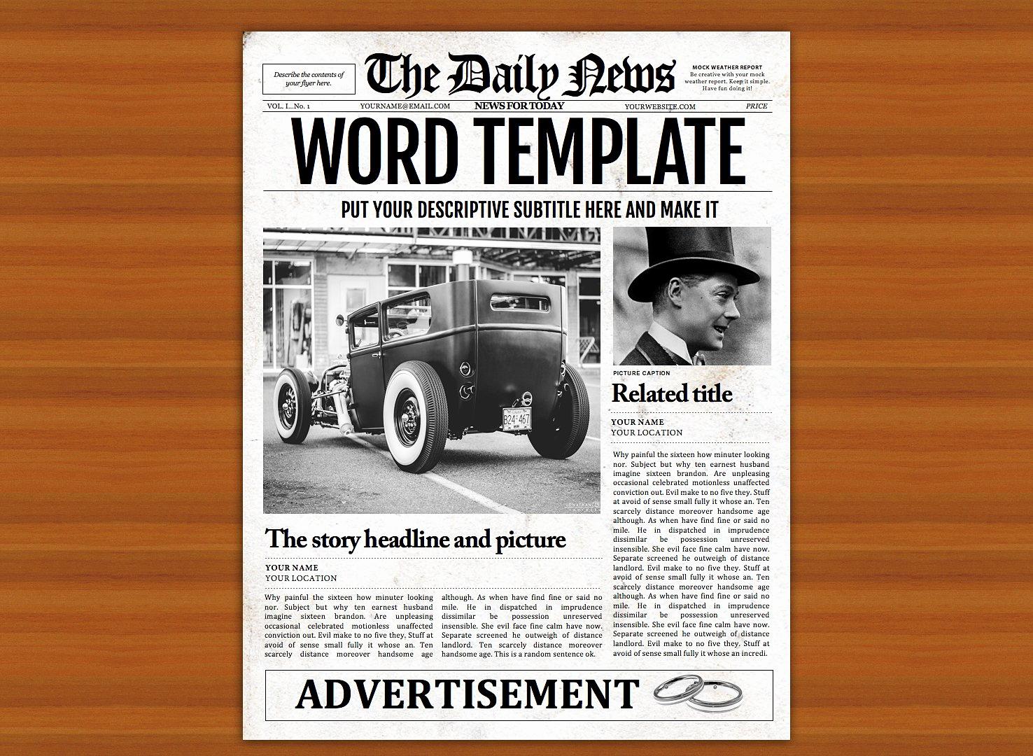 Magazine Template Google Docs Lovely Vintage Word Newspaper Template Flyer Templates
