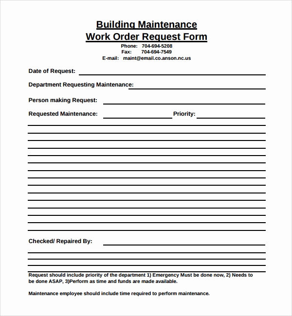 Maintenance Request form Template Best Of Sample Maintenance Work order form 8 Free Documents In Pdf