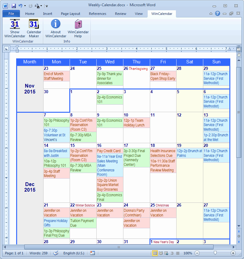 Make A Calendar In Word New Calendar Maker & Calendar Creator for Word and Excel
