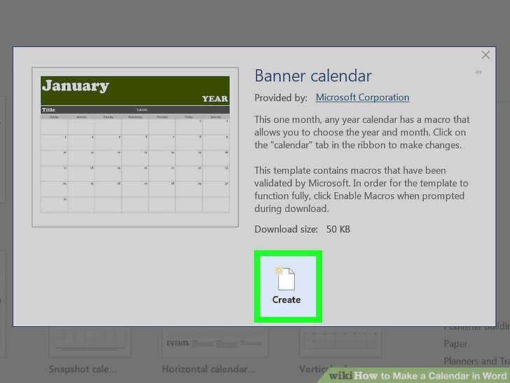 Make A Calender In Word Beautiful How to Make A Calendar In Word with Wikihow