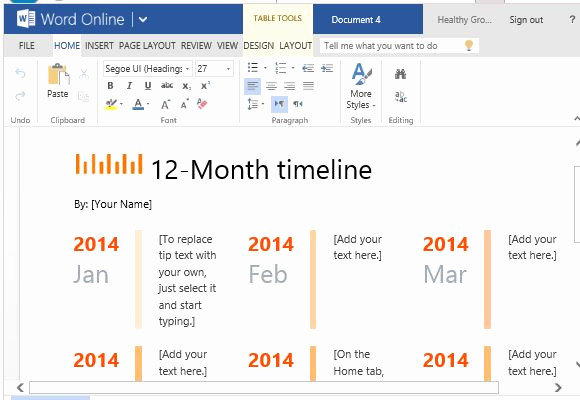 Make A Timeline In Word Lovely 12 Month Timeline Template for Word Line