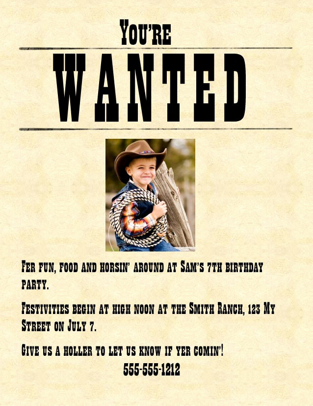 Make A Wanted Poster Beautiful Cowboy Cowgirl Western Party the Best Birthday