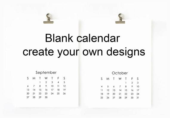 Making A Calendar Free Awesome 2018 Blank Calendar Printable Digital File Create Your