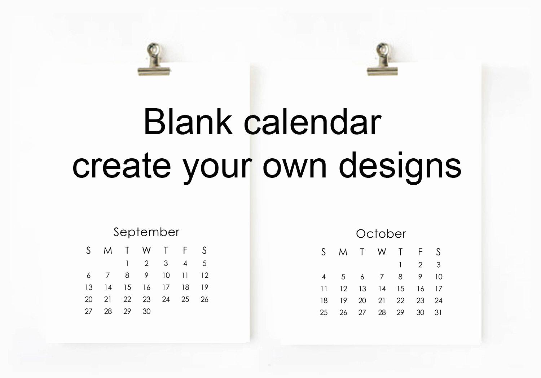 Making A Calendar Free Beautiful 2017 Blank Calendar Printable Digital File Create Your Own