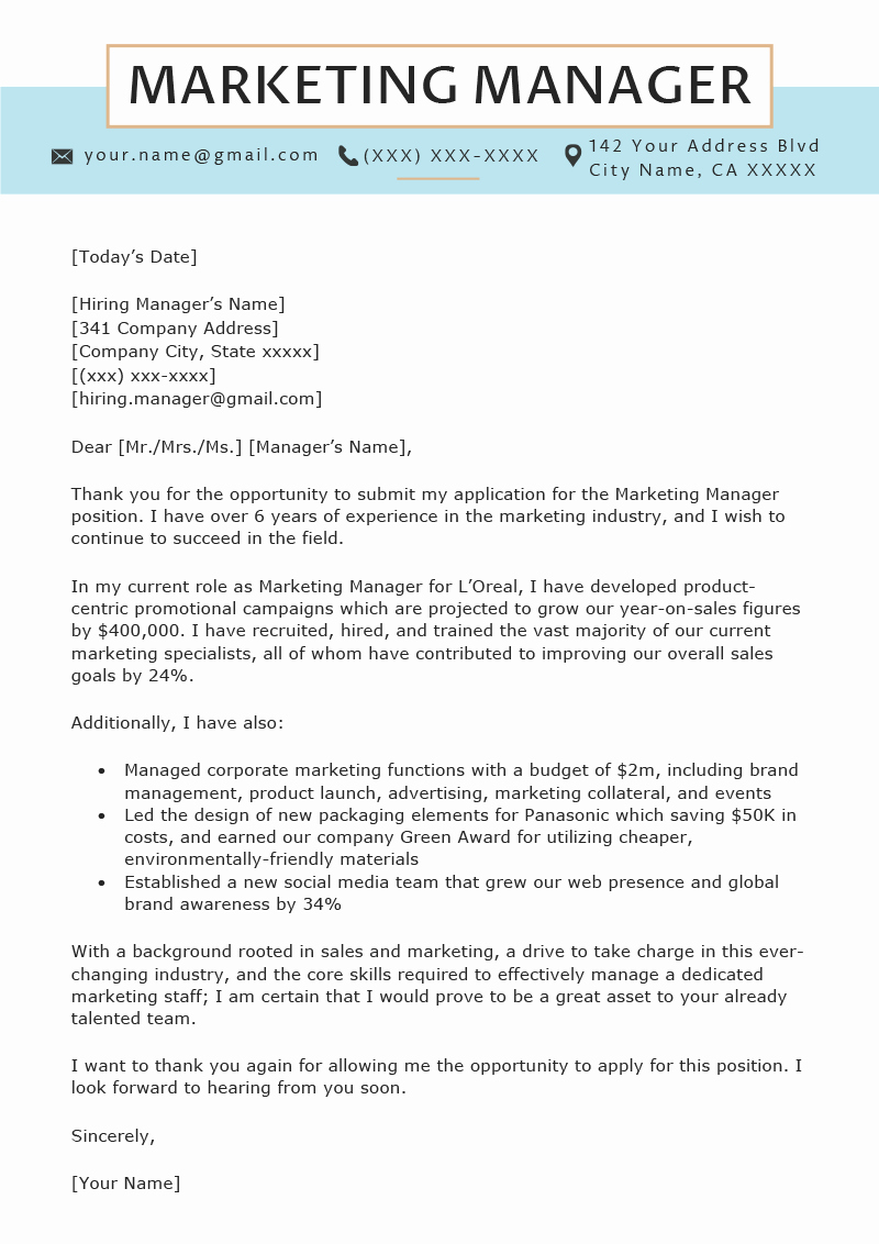 Marketing Cover Letter Examples Awesome Marketing Manager Cover Letter Sample