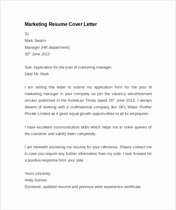 Marketing Cover Letter Examples Luxury Resume Cover Letter Example 8 Download Documents In Pdf