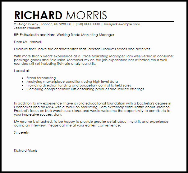 Marketing Cover Letter Examples New Trade Marketing Manager Cover Letter Sample