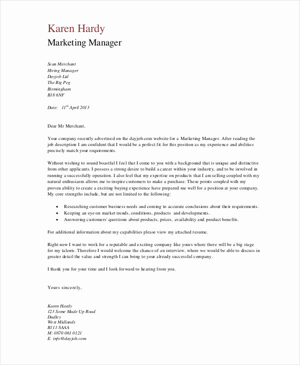 Marketing Cover Letter Sample Beautiful 11 Marketing Cover Letter Templates Free Sample