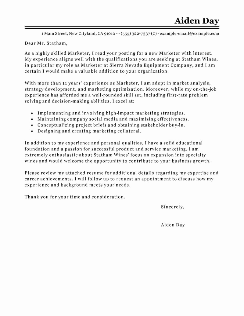 Marketing Cover Letter Sample Elegant Best Marketing Cover Letter Examples