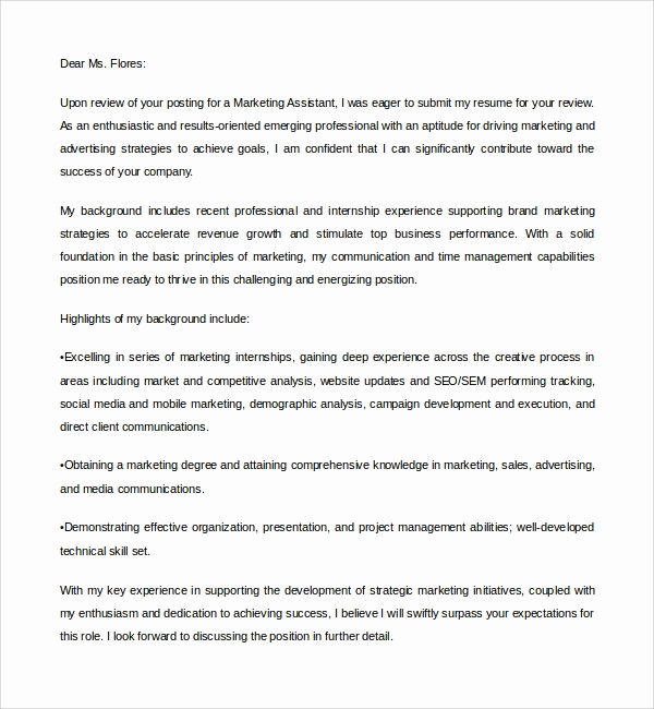 Marketing Cover Letter Sample Inspirational 9 Marketing assistant Cover Letters to Download
