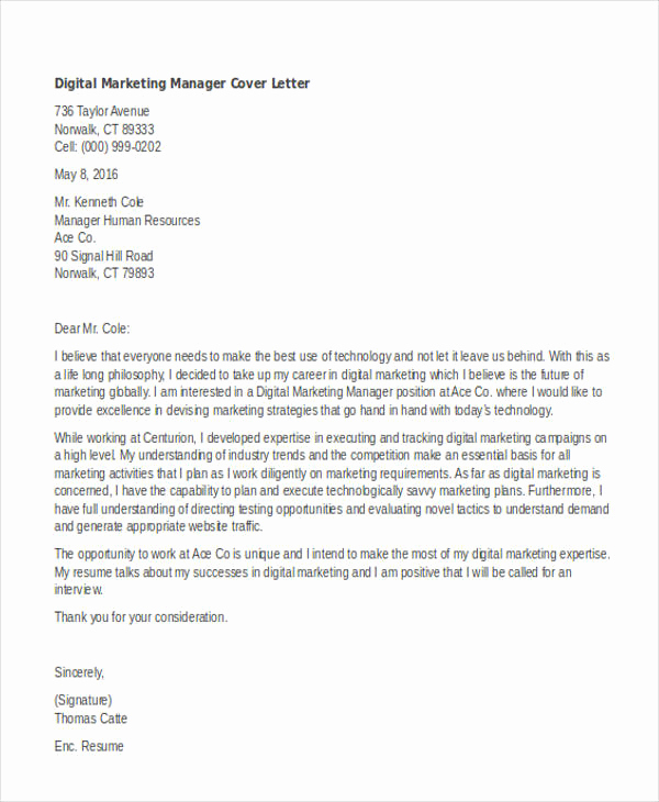 Marketing Cover Letter Sample New 11 Marketing Cover Letter Templates Free Sample