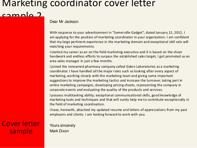 Marketing Cover Letter Sample Unique Marketing Coordinator Cover Letter