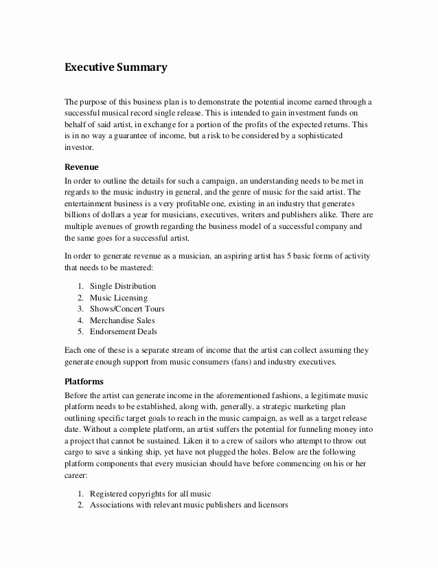 Marketing Plan Executive Summary Luxury Music Marketing Plan Executive Summary