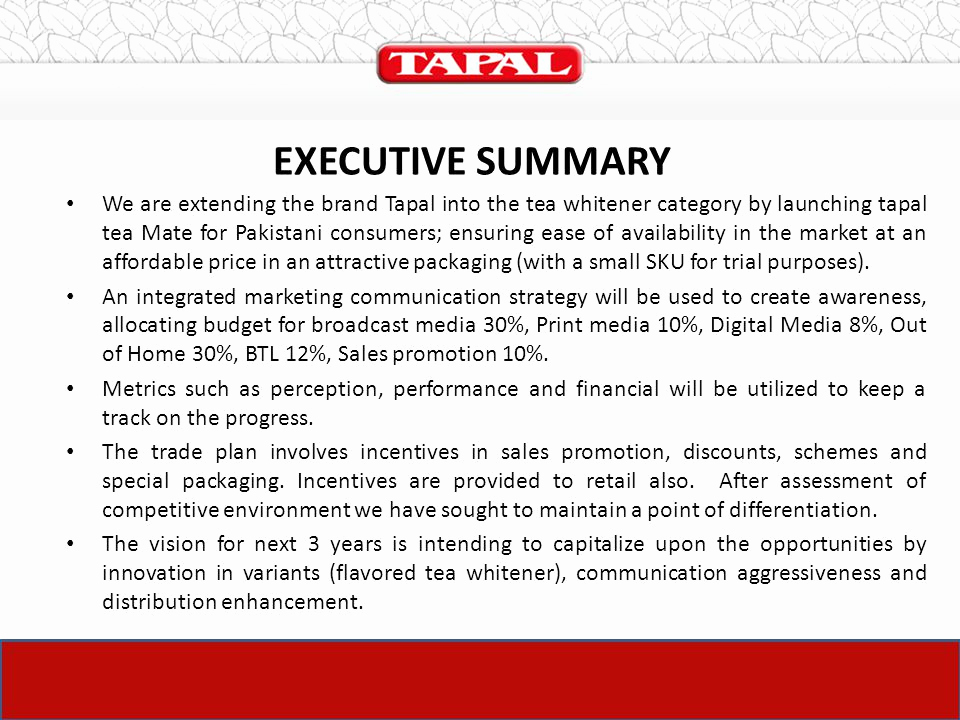 Marketing Plan Executive Summary Luxury the Launch Plan Of Tapal – Tea Mate Ppt