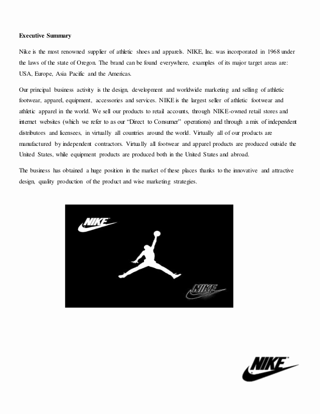 Marketing Plan Executive Summary Unique assignment On Marketing Plan Of Nike Shoes