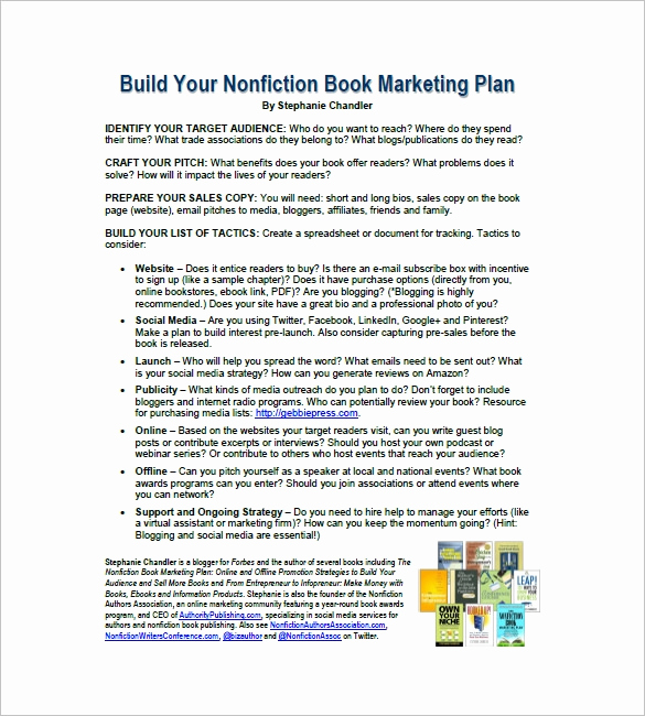 Marketing Plan Sample Pdf Beautiful Book Marketing Plan Template – 9 Free Word Excel Pdf