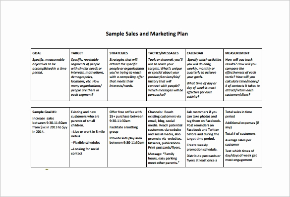 Marketing Plan Template Pdf Awesome 13 Sales Plan Template Pdf Doc