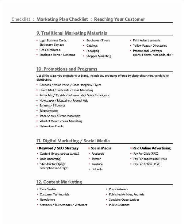 Marketing Plan Template Word Best Of Marketing Checklist Template 10 Free Word Pdf