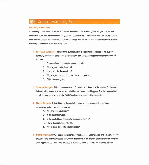 Marketing Plan Template Word Unique 26 Simple Marketing Plan Templates Pdf Word format