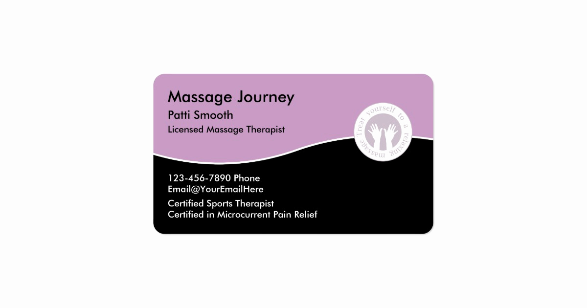 Massage therapist Business Cards Elegant Licensed Massage therapist Business Card