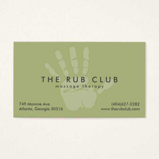 Massage therapist Business Cards New Green Handprint Massage therapy Business Card