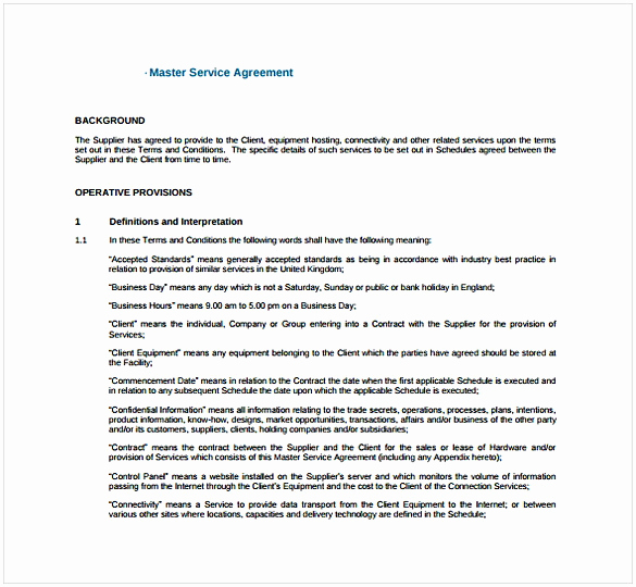 Master Service Agreement Template Best Of Master Service Agreement Template