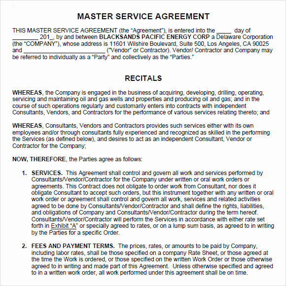 Master Service Agreement Template Best Of Sample Master Service Agreement 8 Documents In Pdf Word