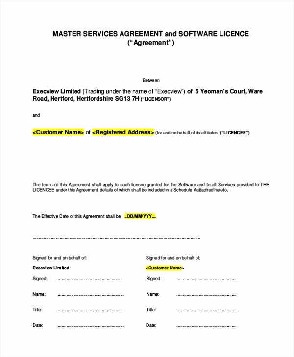 Master Service Agreement Template Best Of Sample Service Agreement form 9 Free Documents In Pdf