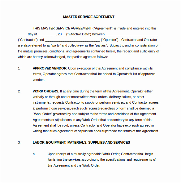 Master Service Agreement Template Elegant 24 Contract Agreement Templates – Word Pdf Pages