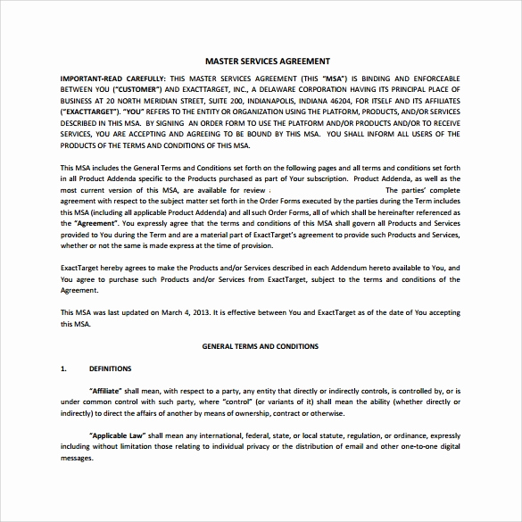 Master Service Agreement Template Fresh 15 Sample Master Service Agreement Templates