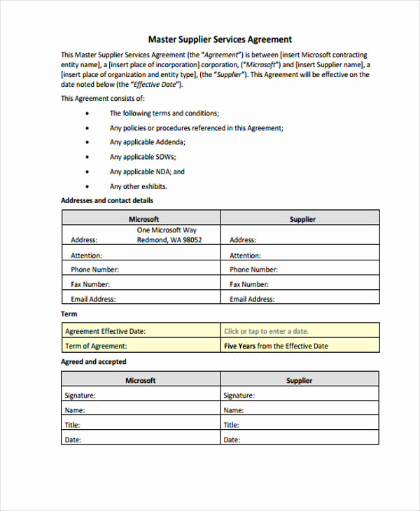 Master Service Agreement Template Inspirational Service Agreement forms