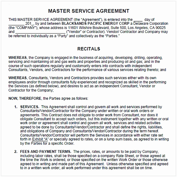 Master Service Agreement Template Lovely Master Service Agreement Template