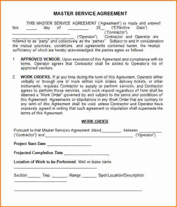 Master Service Agreement Template New Master Service Agreement Template