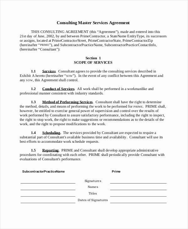 Master Service Agreement Template New Sample Consulting Agreement form 9 Free Documents In