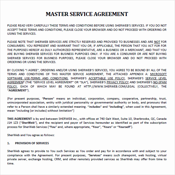 Master Service Agreement Template Unique Sample Master Service Agreement 8 Documents In Pdf Word