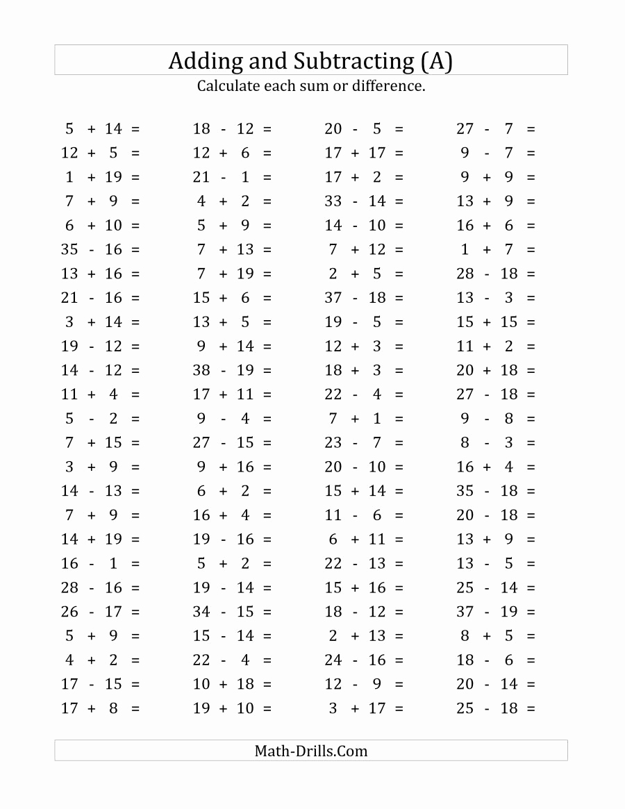 Math Addition and Subtraction Worksheets Beautiful 100 Horizontal Addition Subtraction Questions Facts 1 to