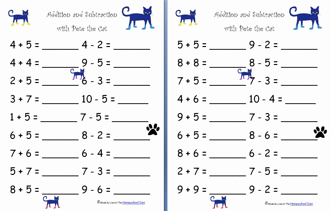 Math Addition and Subtraction Worksheets Unique Math Worksheets Game Boards Lapbook and More All Free