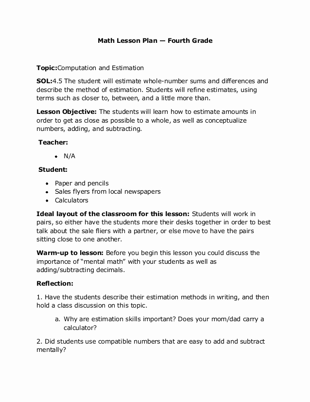 Math Lesson Plan Template Beautiful Blog Archives Generationbackup
