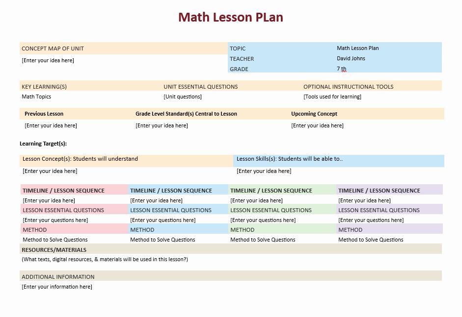 Math Lesson Plan Template Elegant Math Lesson Plan Template – Microsoft Word Templates