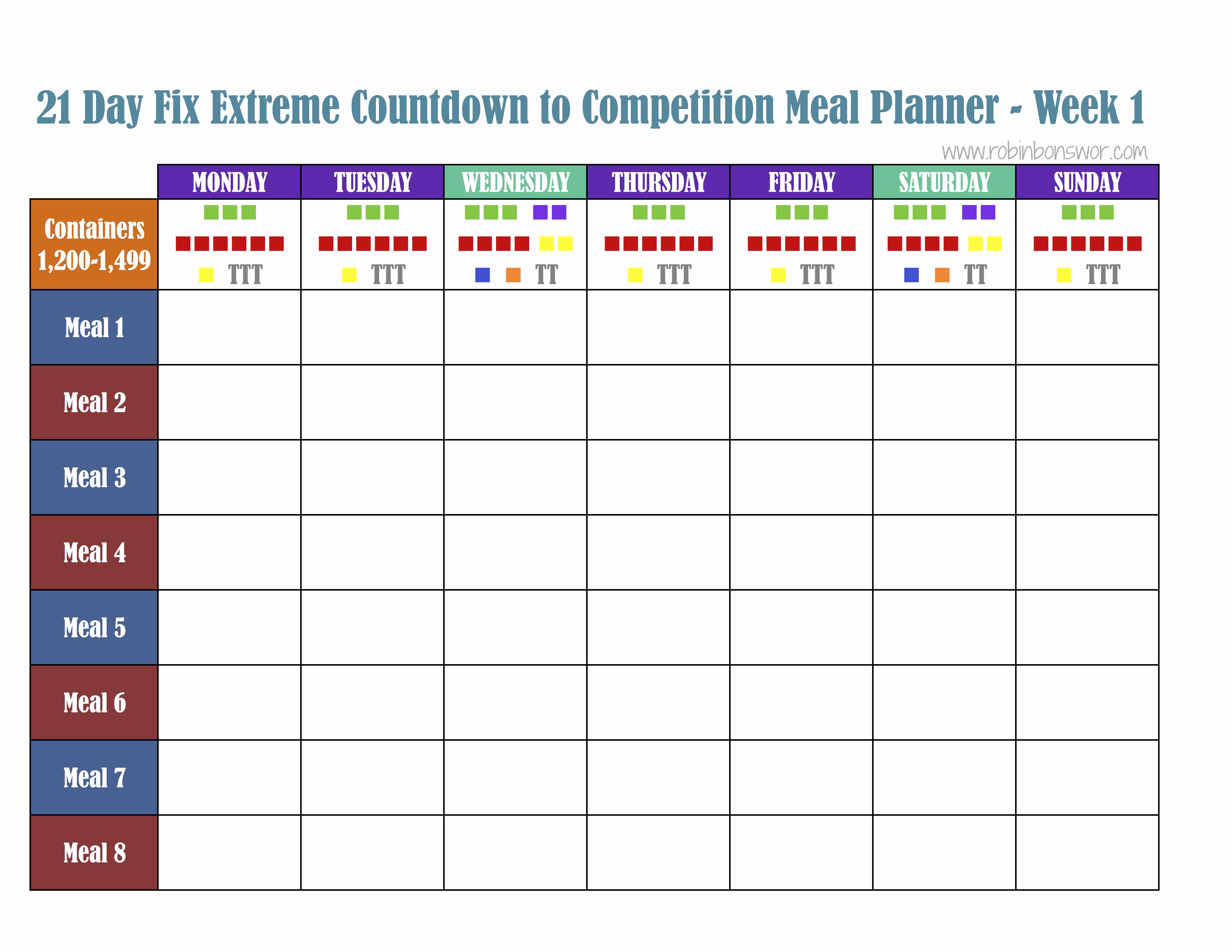Meal Plan Template Pdf Elegant 21 Day Fix Meal Plan tools