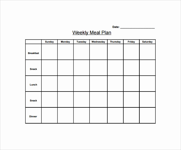 Meal Plan Template Pdf Fresh Sample Weekly Meal Plan Template 9 Free Documents In