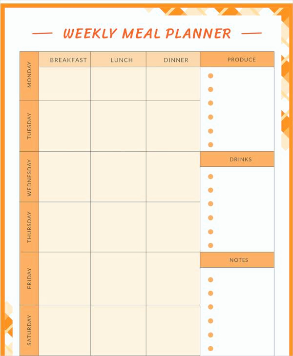 Meal Plan Template Pdf Inspirational 18 Meal Planning Templates Pdf Excel Word