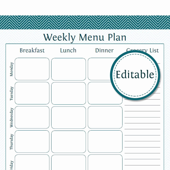 Meal Plan Template Pdf Inspirational Weekly Menu Planner with Grocery List Fillable Printable