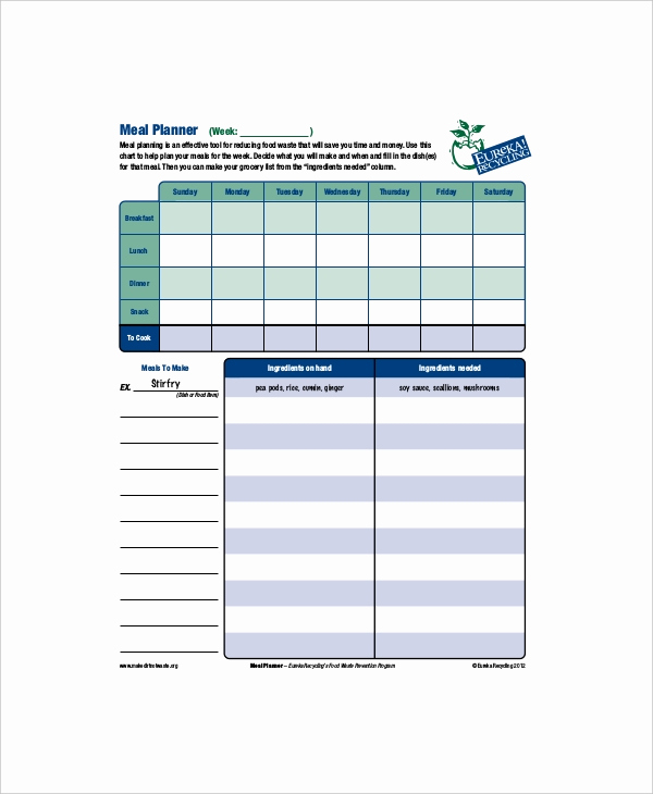 Meal Plan Template Pdf Luxury 8 Daily Meal Planner Templates Free Sample Example