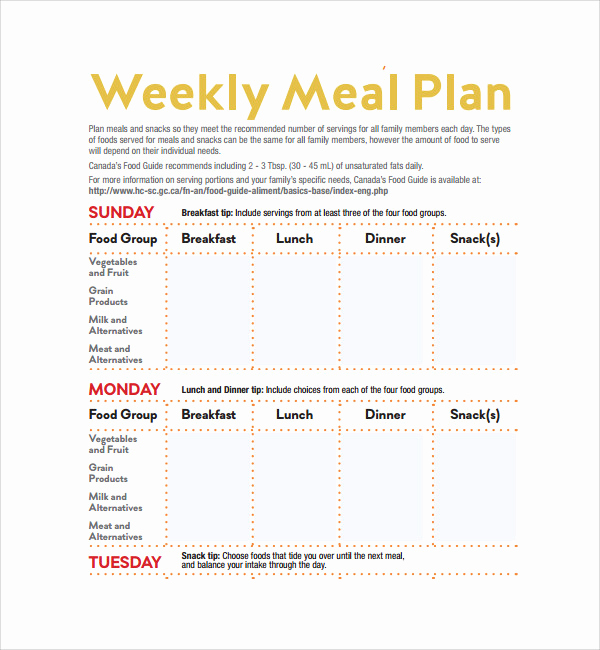 Meal Plan Template Pdf New 14 Weekly Meal Plan Templates