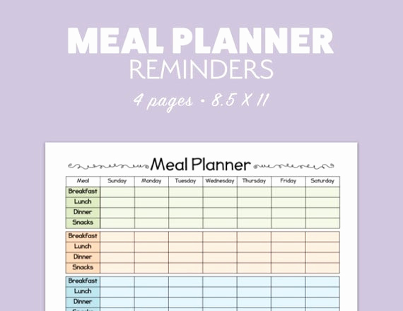Meal Plan Template Pdf New Meal Planner 4 Versions Printable Template Pdf Landscape