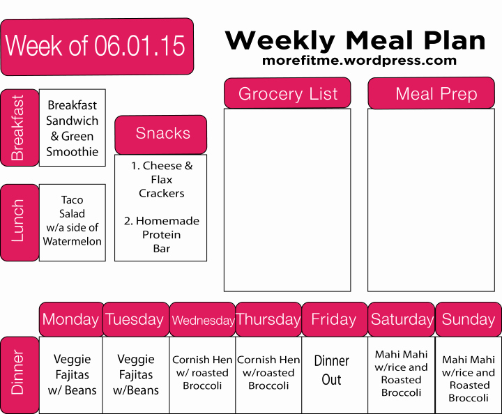 Meal Plan Template Word Fresh Meal Prep 3