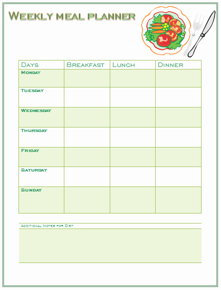 Meal Plan Template Word Fresh Perfect Meal Planning Template for You and Your Family