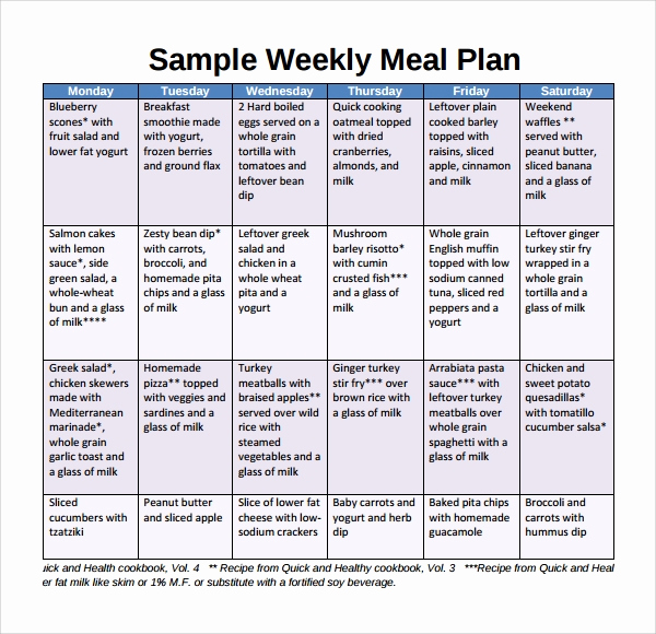 Meal Plan Template Word Fresh Sample Weekly Meal Plan Template 9 Free Documents In